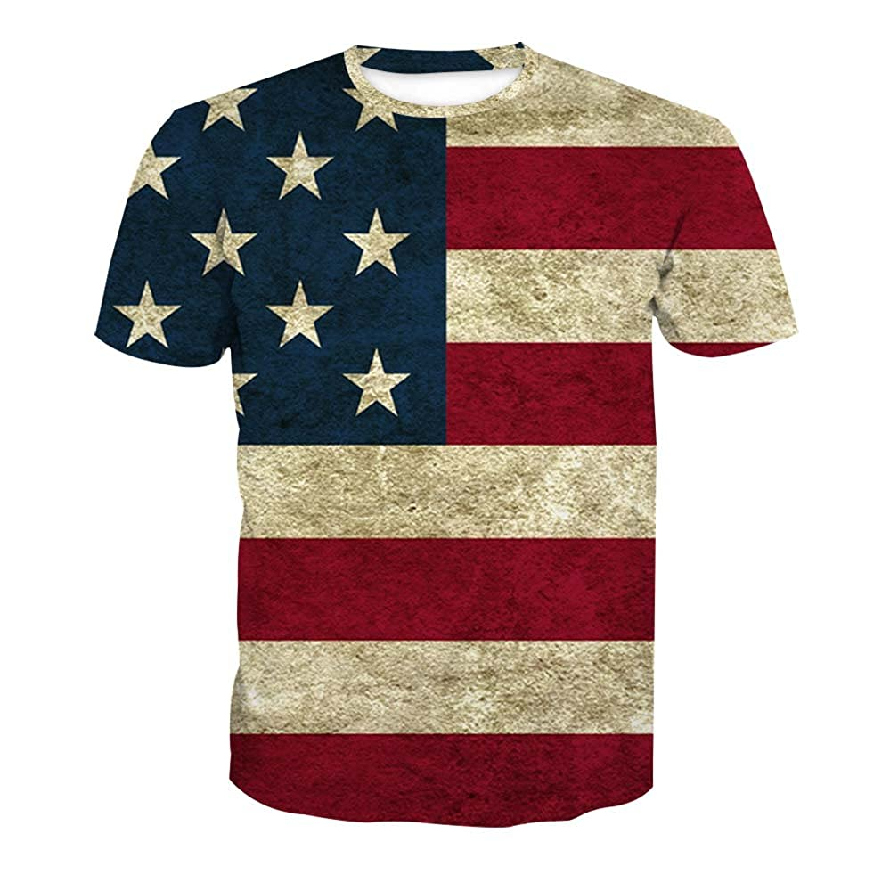 f5d11495 Amazon.com: ALAZA Mens American USA Flag T-Shirt Vintage Summer Casual Tees  Tops July of 4th: Clothing