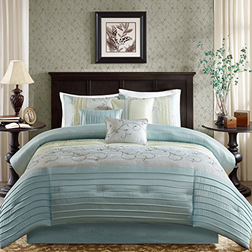 Madison Park Serene Queen Size Bed Comforter Set Bed in A Bag – Aqua, Embroidered – 7 Pieces Bedding Sets – Faux Silk Bedroom Comforters
