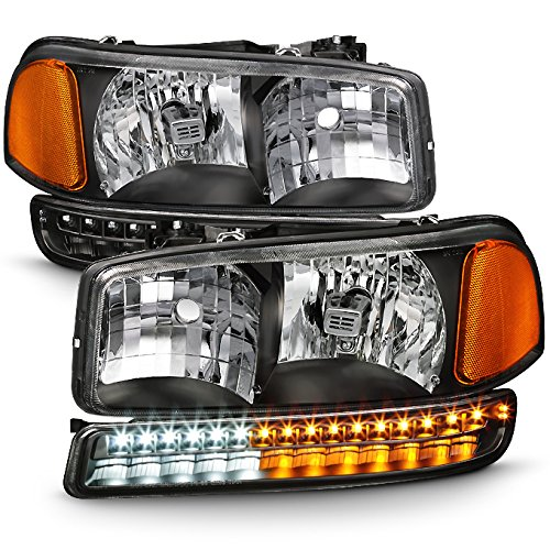 For Black Bezel 99-06 Sierra 00-06 Yukon Headlights Replacement + LED Bumper Signal Light Lamps Set (Gmc Headlight Bezel)