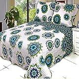 Moon Daughter 3 Pcs Julia Oversize Printed King Calking Coverlet Bedspread Set 100% Microfiber Cover Cool Color