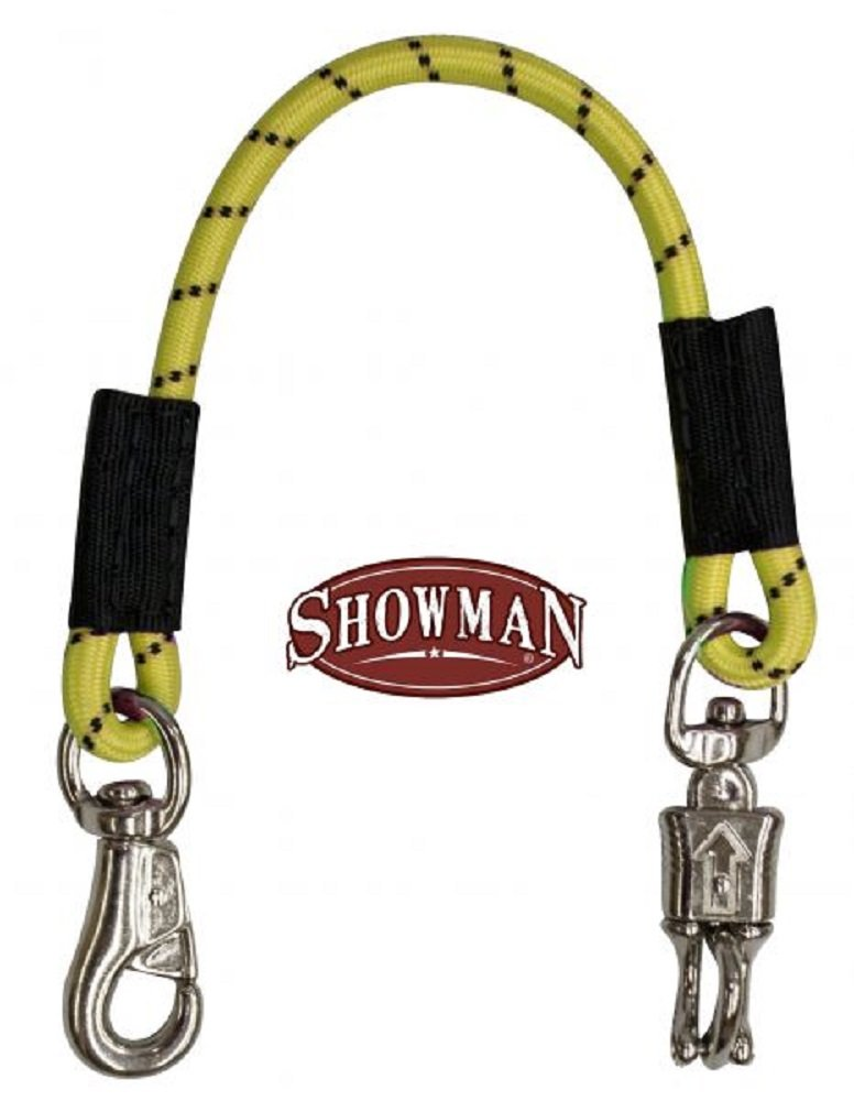 Showman 24'' Yellow Bungee Trailer Tie With Quick Release Panic Snap And Heavy Duty Bull Snap