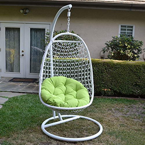 Wicker Rattan Swing Bed Chair Weaved Egg Shape Hanging Hammock Outdoor Patio-WHITE/LIME (Outdoor Wicker Egg Chair)