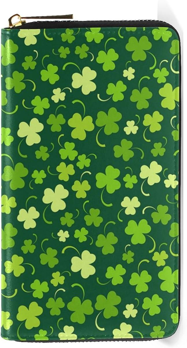 InterestPrint Womens Green Clovers Clutch Purse Card Holder Organizer Ladies Purse