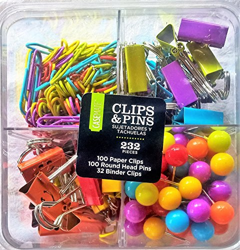 Clips-and-Pins100-Paper-Clips-100-Round-Head-Pins-32-Binder-ClipsOffice-Supplies-School-Supplies-In-Clear-Case