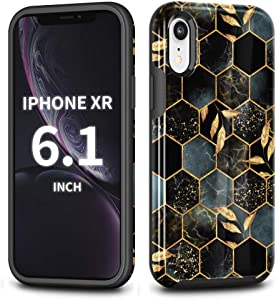 CAFEWICH Case for iPhone Xr (6.1''), Hybrid Rubber Bumper Shockproof Scratch-Resistant Protective Hard Cover Phone Cases, Compatible with Apple iPhone 10 XR 2018 - Honeycomb Marble