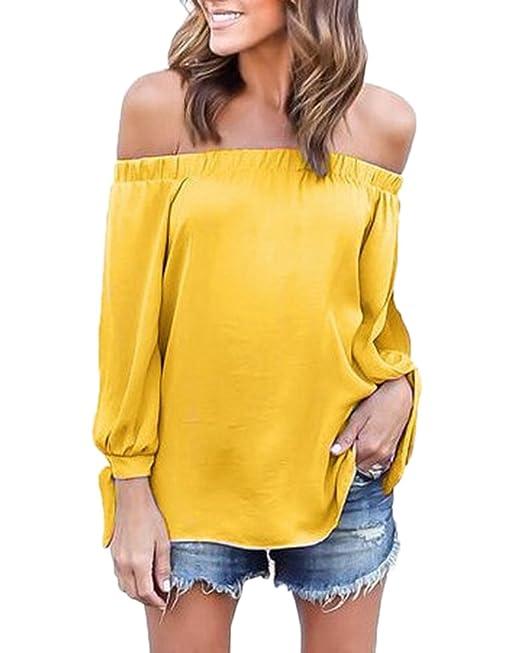Damas Blusa Camiseta Cuello Barco Mangas Largas Blusa Sin Hombros Tops Amarillo L