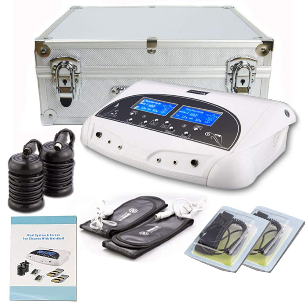 Lofan Dual Ionic Ion Detox Foot Bath Spa Machine Chi Cleanse Foot Detoxification Machine System with Far Infrared Ray Belt Large LCD-110V for Two People Use