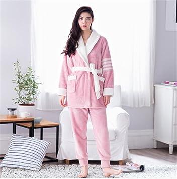 Ropa de dormir Moda Pijamas Chicas Invierno grueso terciopelo coralino de terciopelo Slim mangas largas Traje