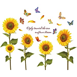 Removable Creative 3D Flower Wall Decal DIY Flowers Wall Decor Floral Wall Peel and Stick Sticker for Girls Teens Nursery Babys Bedroom Living Room Home Offices Kids Room Decoration (Sunflower)