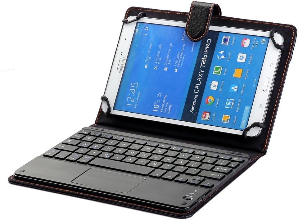 J&H Funda para teclado Huawei MediaPad M5 8, universal de 8 pulgadas a 8.9 pulgadas, funda de piel sintética con teclado Bluetooth (TOUCHPAD MOUSE) ...
