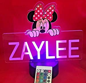 Minnie Mouse Princess Light Up Lamp LED Personalized Minnie with Name Night Light Engraved Table Lamp, Our Newest Feature - It's Wow, with Remote, 16 Color Options, Dimmer, Free Engraved, Great Gift