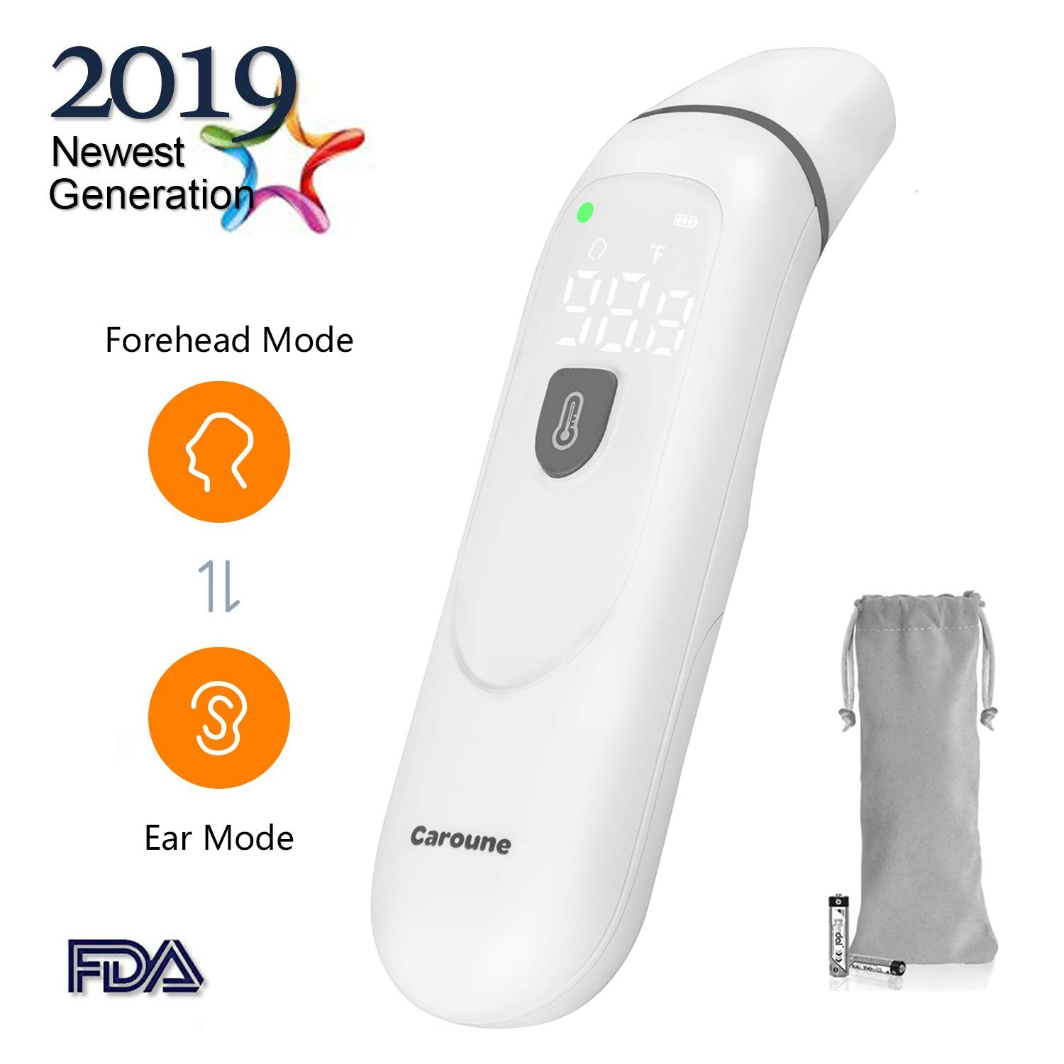 【Upgraded】Caroune Forehead and Ear Thermometer, Medical Digital Infrared Temporal Thermometer for Fever, Instant Accurate Reading for Baby Kids and Adults by Caroune