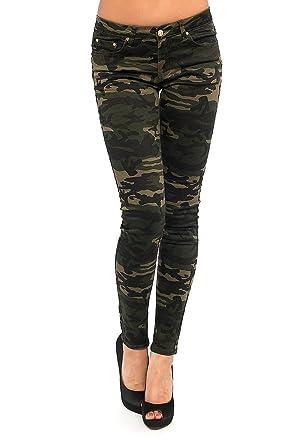 Damen Jeans Hose Chino Baggy Stretch Boyfriend Army Camouflage Military Hüfthose