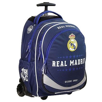 Mochila escolar exclusiva con ruedas del Real Madrid, 47 x 35 x 20 cm, elegante