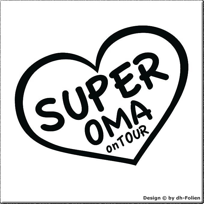 Cartattoo4you Ak 00441 Super Oma On Tour K Serie Autoaufkleber Aufkleber Sticker Opa Herz Farbe Schwarz In 24 Farben Erhältlich Glänzend 13 X 10 Cm Auto