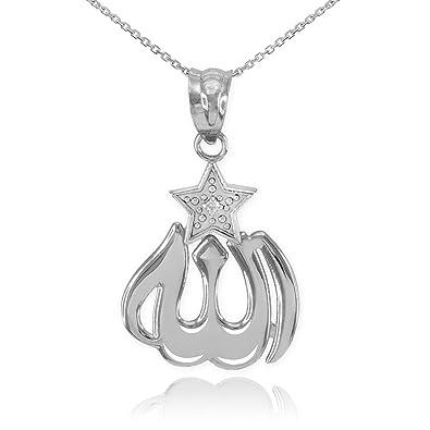 Amazon 14k white gold diamond accented star islamic allah 14k white gold diamond accented star islamic allah pendant necklace 16quot aloadofball Choice Image