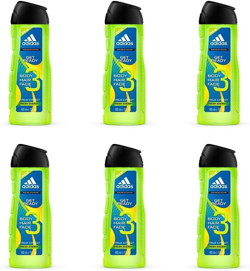 Adidas Get Ready 3In1, Gel De Ducha Apto Para Cara, Cuerpo Y Pelo Para Hombre 400 ml - Pack de 6