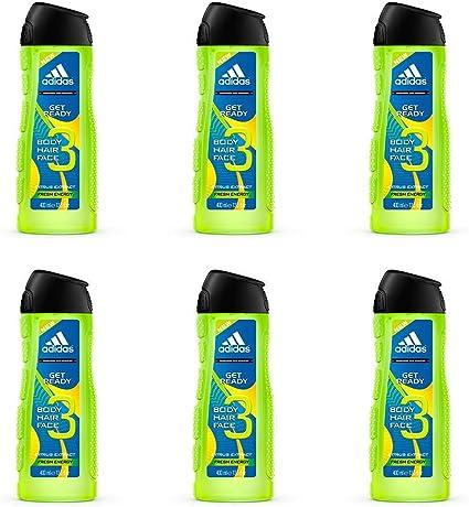 Adidas Get Ready 3In1, Gel De Ducha Apto Para Cara, Cuerpo Y Pelo Para Hombre 400 ml - Pack de 6: Amazon.es: Belleza