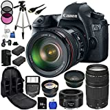 Canon EOS 6D DSLR Camera Triple Lens Kit with Canon 24-105mm, 75-300mm f/4.0-5.6 III & 50mm f/1.8 STM Lenses Includes: Wide Angle & Telephoto Lenses, 3 Piece Filter Kit (UV-CPL-FLD), 32GB SD Card, 2 Replacement Batteries, Tripod & More