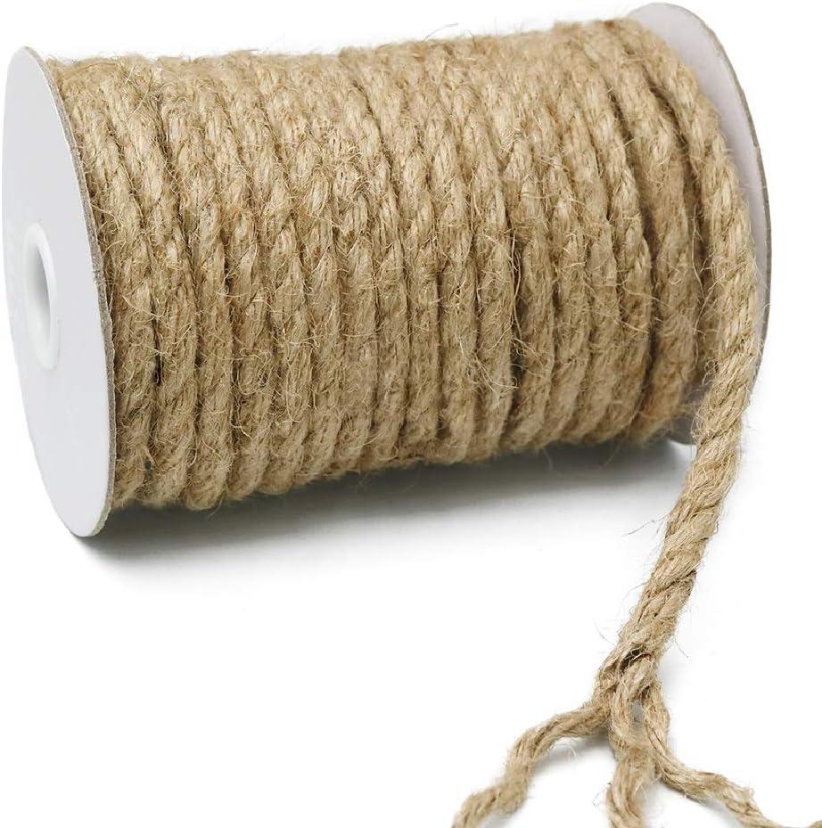 KINGLAKE - Cuerda de cáñamo de 8 mm de Grosor, Cuerda de Yute de jardín de 15 m, Cuerda Fuerte para Manualidades, para Envolver, decoración del hogar, jardinería