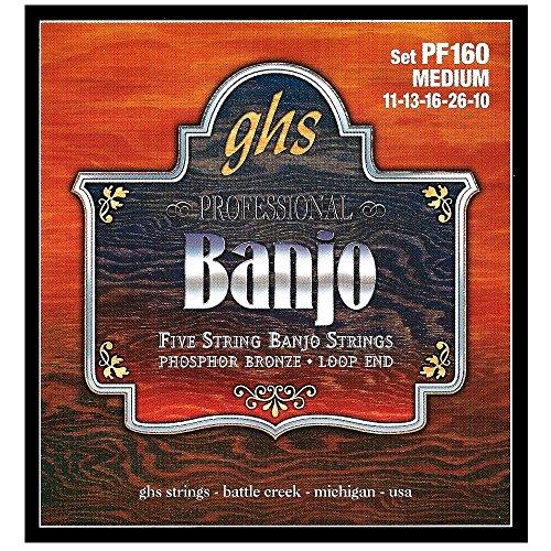 - GHS Strings PF160 5-String Banjo Strings, Phosphor Bronze, Medium (.011-.026)