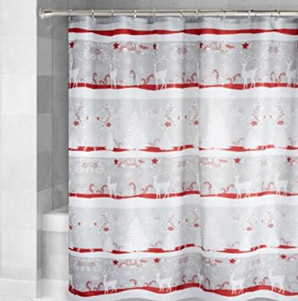 Nantucket H Winter Reindeer White Red Poinsettia Fabric Shower Curtain 72quot