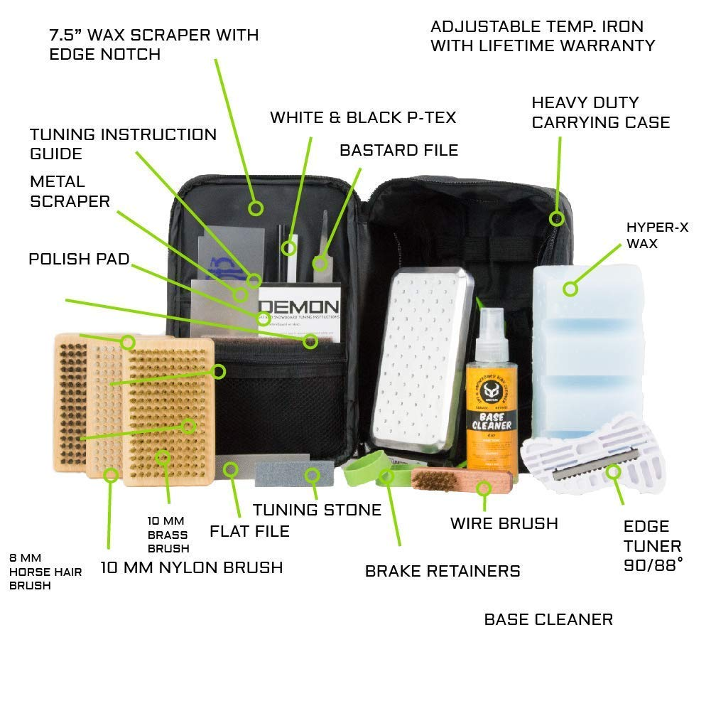 Demon Hyper Ski Tuning Kit & Snowboard Tune Kit with Iron, 1lb Wax Block & Base Cleaner and Elite X Ski and Snowboard Edge Tuner w/Side Edge Multi-Tool w/ 3 Diamond Files (with 2 pc Vise and Apron) by Demon United