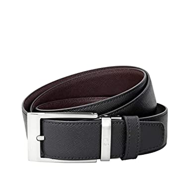 1d50206abc Montblanc Reversible Black and Brown Saffiano Leather Belt at Amazon ...