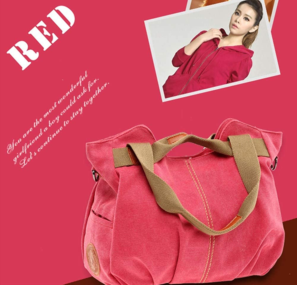 A.OAQRFA Borsa donna in tela e borsa a tracolla borse donna Borsa donna vintage, 33X20X25CM Rosso