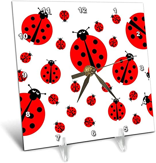 3dRose Image with Many Different Sized Ladybugs on White Background. – Desk Clock, 6 by 6-Inch dc_211985_1