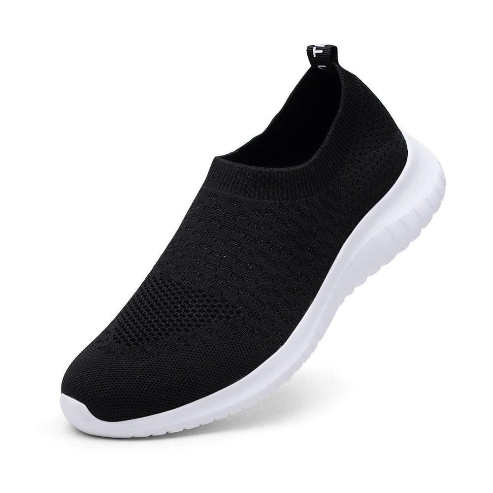 TIOSEBON Women's Walking Shoes Lightweight Breathable Flyknit Yoga Travel Sneakers 7.5 US Black by TIOSEBON (Image #3)