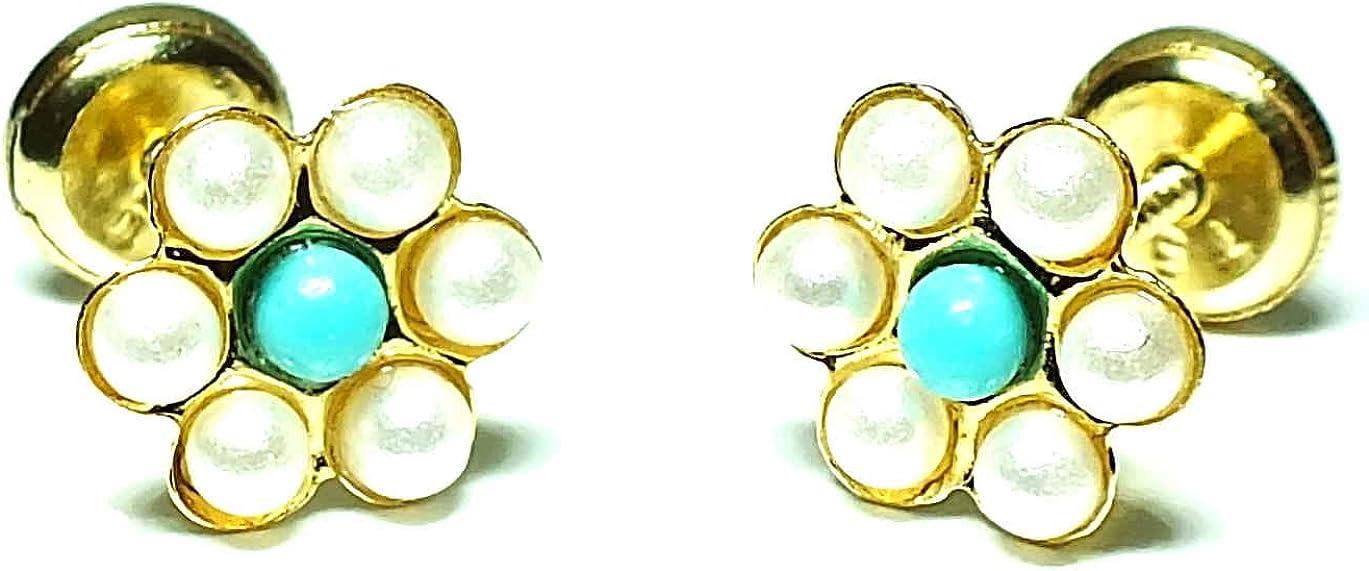 Pendientes oro 18k, bebe niña o mujer, modelo flor de 6 petalos con perlas naturales y con el centro en turquesa,