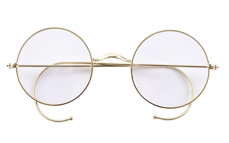 14b3c146f1a Amazon.com  Agstum Retro Round Optical Rare Wire Rim Eyeglass Frame 49mm  (Without Nose Pads) (Gold