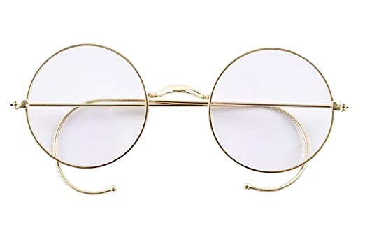 agstum retro round optical rare wire rim eyeglass frame 47mm without nose pads - Wire Glasses Frames