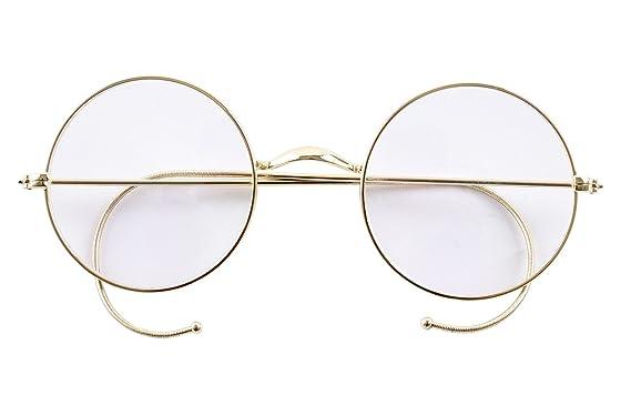9c91a099012 Amazon.com  Agstum Retro Round Optical Rare Wire Rim Eyeglass Frame 49mm  (Without Nose Pads) (Gold