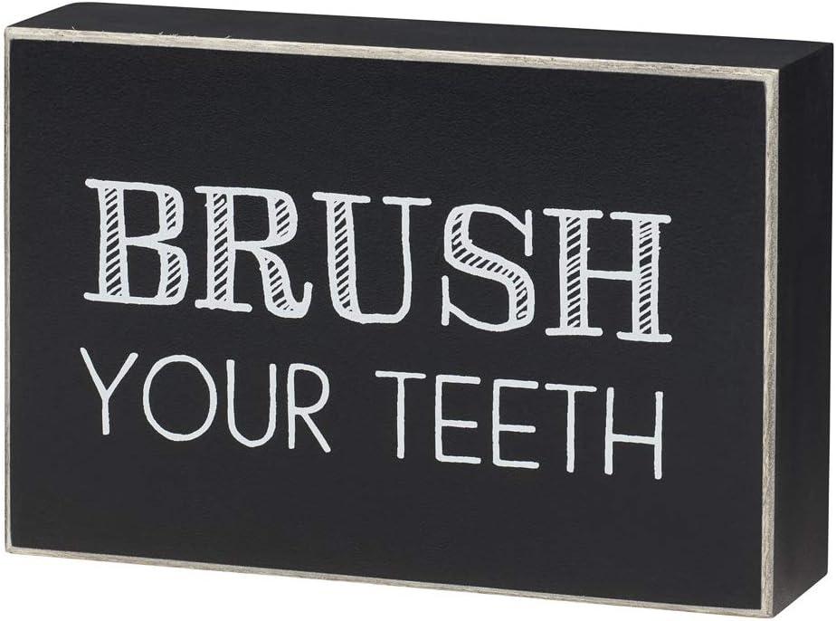 Bathroom-Themed Wood Box Sign (Brush Your Teeth)
