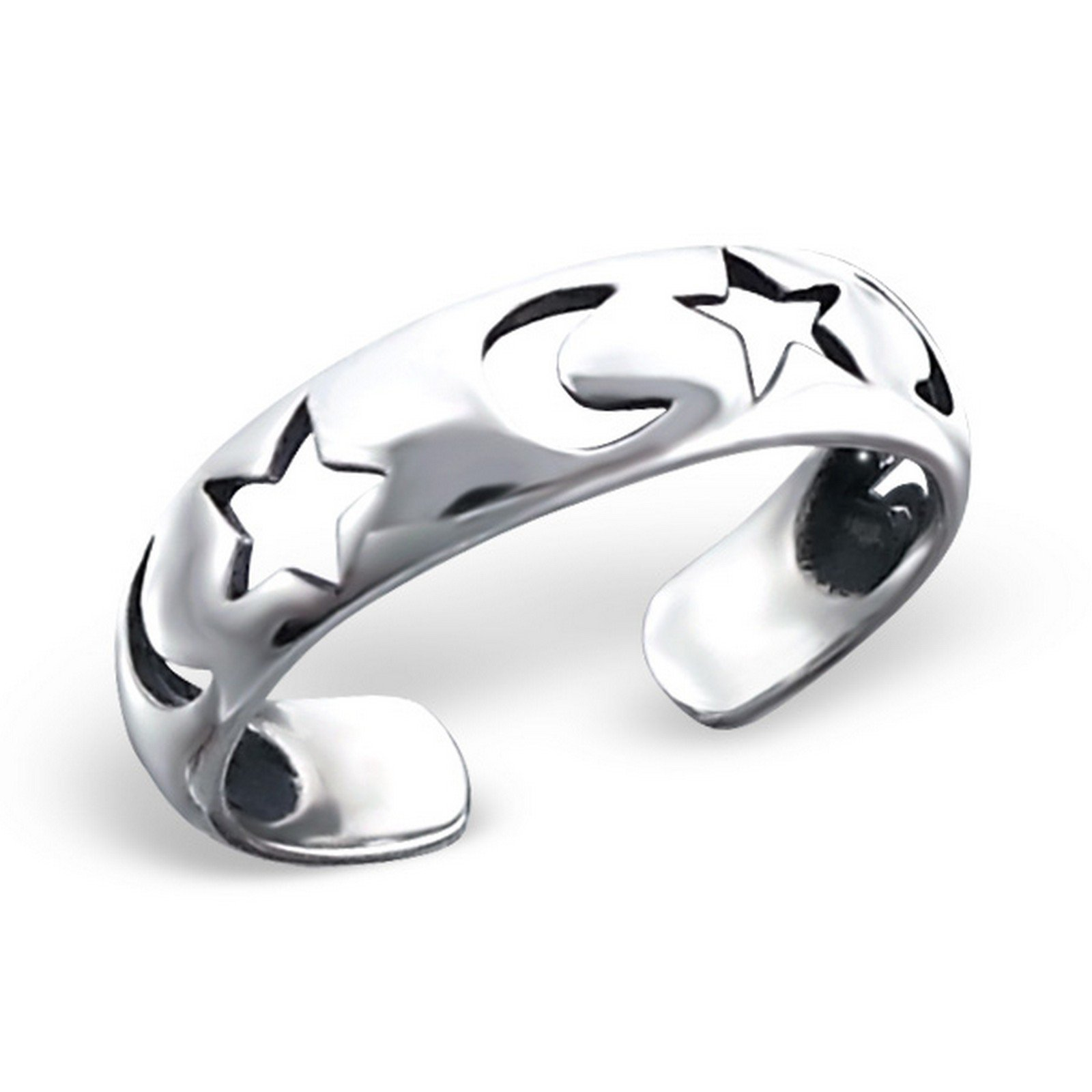 Moon And Star Silver Toe Ring. Oxidized 925 Sterling Ring Jewelry