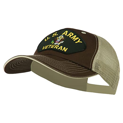 E4hats US Army Veteran Military Patched Big Size Washed Mesh Cap - Brown  Beige OSFM 94b9bd619829