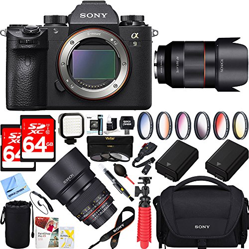 Sony Alpha a9 Mirrorless Interchangeable Lens Digital Camera Body Only + 50mm & 85mm f1.4 Dual Rokinon Prime Lens Bundle