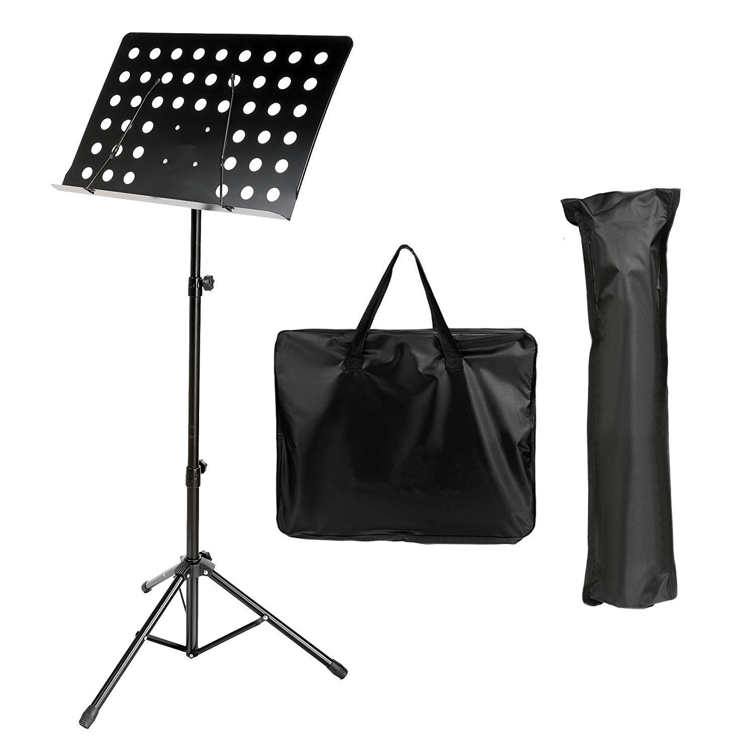 Dtemple Adjustable Folding Music Conductor Stand/Book Tripod Holder with Two Carrying Bags Lightweight - Portable and Suitable for Violin, Guitar, Flute and Instrumental Performance