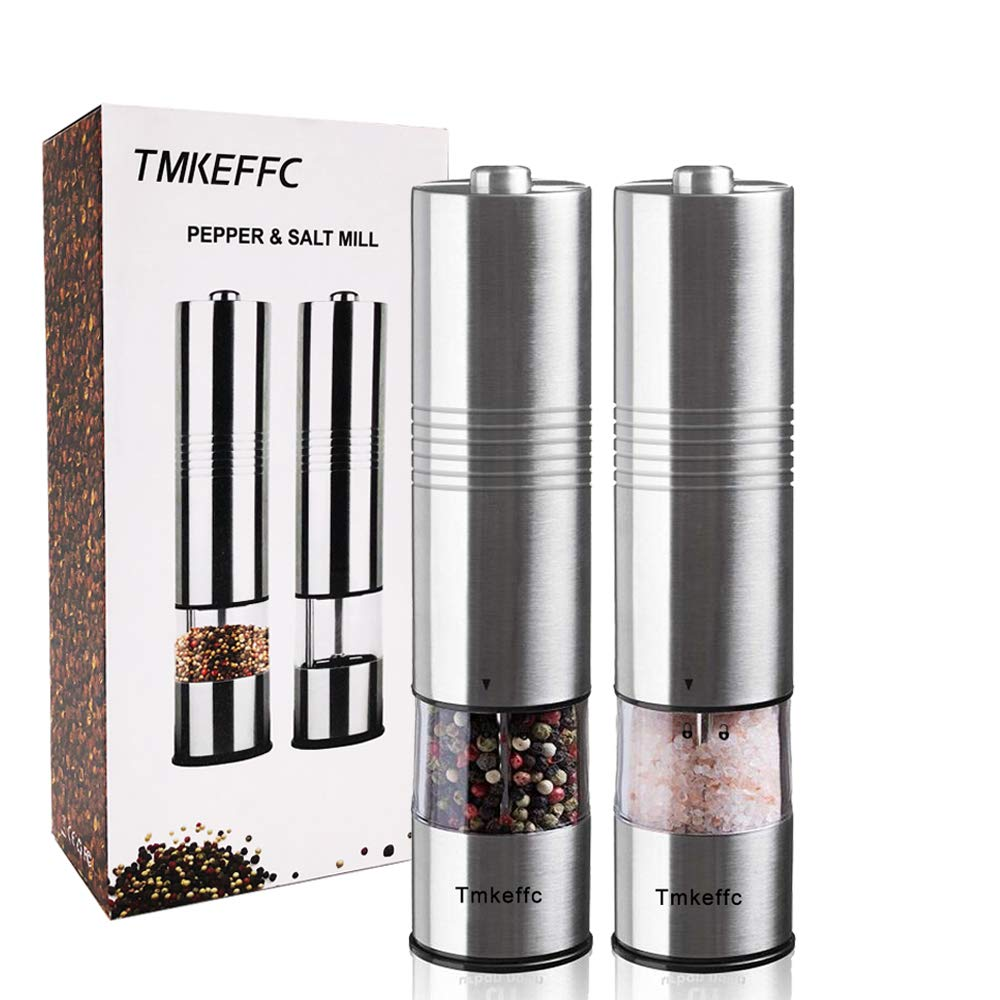 TMKEFFC Electric Salt and Pepper Grinder Set - Battery Operated Stainless Steel Mill with LED Light (Pack of 2 Mills) - Electronic Adjustable Shakers - Ceramic Grinders - Automatic One Handed Operation by TMKEFFC (Image #5)