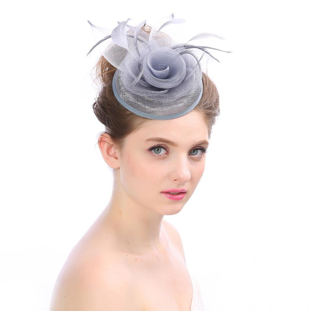 /él/égant avec plumes et rubans en mailles de fleur pour mariage r/éception cocktail Chapeau Xshuai pour femme