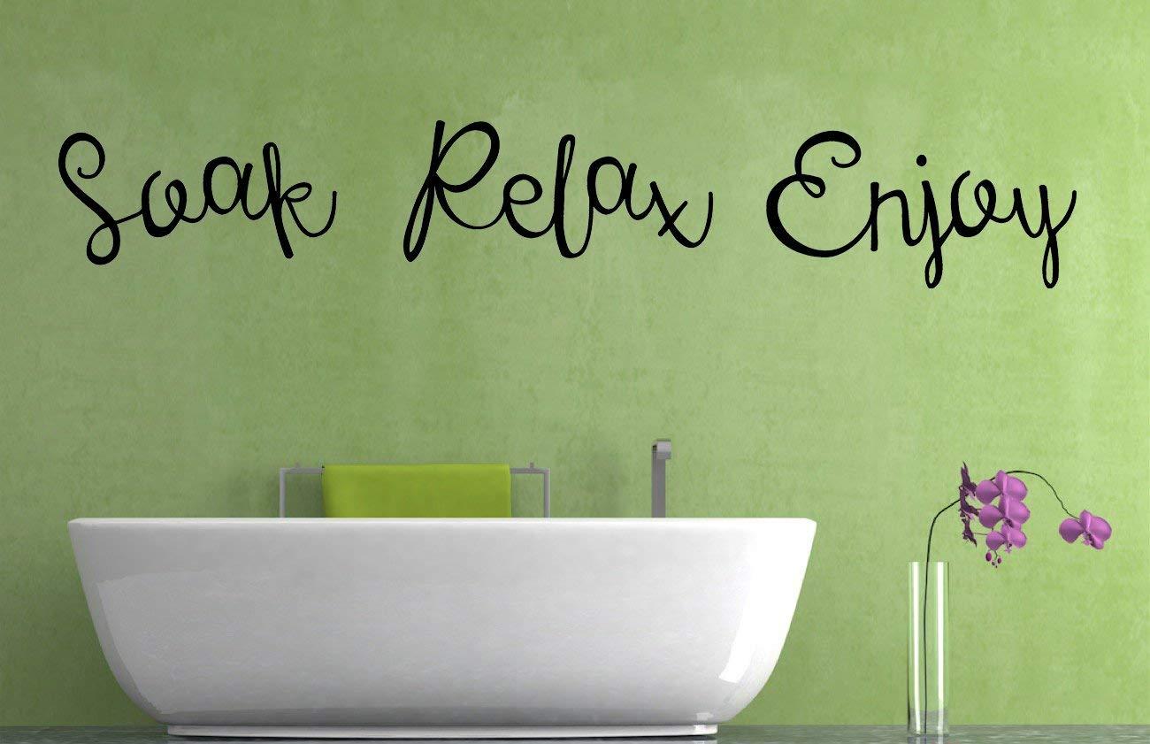 Home Vinyl Wall Art Sticker Soak Relax Enjoy Quote Wall Decor Mural Decal Bathroom