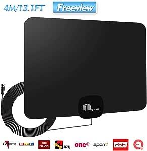 2020 Newest Antena de TV,Antena de TV Digital para Interiores de Alcance de 60KM 1080P 4K,HD,con Cable Coaxial de 4M: Amazon.es: Bricolaje y herramientas