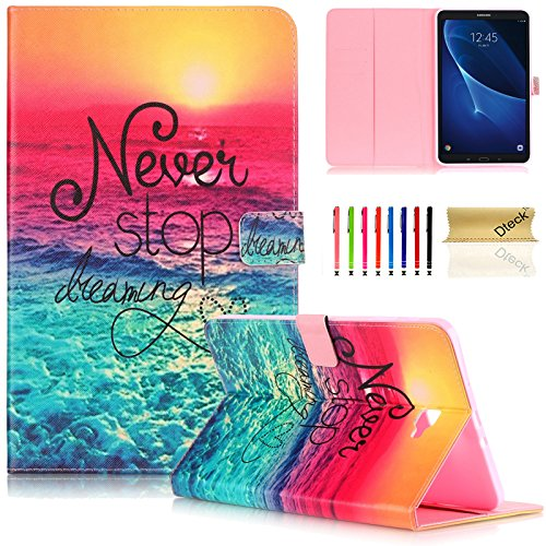 Galaxy Tab A 10.1 Case, Dteck(TM) Cartoon Cute Folio Flip Stand PU Leather Case with Auto Wake/Sleep Function Smart Cover for Samsung Galaxy Tab A 10.1 inch Tablet SM-T580/585 (Never Stop)