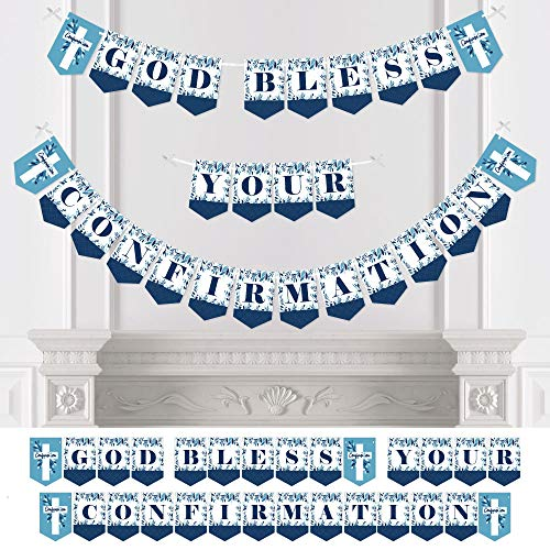 Big Dot of Happiness Confirmation Blue Elegant Cross - Boy Religious Party Bunting Banner - Party Decorations - God Bless Your Confirmation -