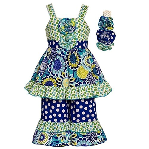Sophias Style Exclusive Girls Eleanor Blue Green Dot Flower Ruffle Outfit - Sophias Style