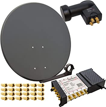 HD Digital Sat equipo 80 cm Antena Parabólica (Acero, Color a elegir + PremiumX – Multiconmutador 5/8 Multiswitch Matrix 5 – 8 con fuente de ...