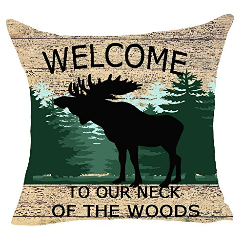 (FELENIW Welcome To Our Neck Of The Woods Forest Trees Animal Moose Throw Pillow Cover Cushion Case Cotton Linen Material Decorative 18