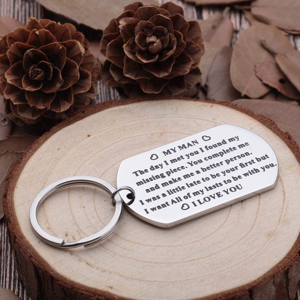 Anniversary Gifts for Him Men Husband to My Man Keychain I Love You Gifts for Hubby Boyfriend Birthday Valentines Day Fiance Groom Wedding Couple Gifts Key Chain from Girlfriend Wife